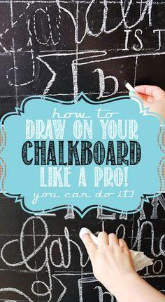 25 Creative DIY Chalkboard Projects - Here is a roundup of 25 DIY chalkboard projects to inspire you! Chalkboard Writing, Chalkboard Drawings, Chalkboard Lettering, Chalkboard Designs, Chalkboard Paint, Chalkboard Ideas, Chalkboard Art Tutorial, Chalkboard Art Kitchen, Fall Chalkboard