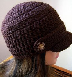 Crocheted Newsboy Hat @Amber Lawrence Jones you need to make this too :)
