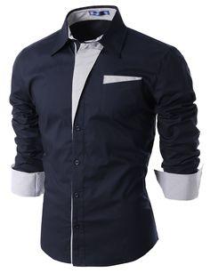 Doublju Mens Dress Shirt with Contrast Detail NAVY (US-L)