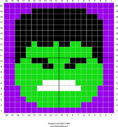 Stitch Fiddle is an online crochet, knitting and cross stitch pattern maker. Crochet Pixel, Crochet Chart, Cross Stitch Pattern Maker, Cross Stitch Patterns, Graph Paper Drawings, Marvel Avengers, Hulk, Hama Beads Design, Pixel Pattern