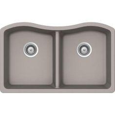 Buy Here: http://thd.co/1Rydazl SCHOCK ASH ASHN200U042 Undermount Composite 32.5 in. 0-Hole 50/50 Double Bowl Kitchen Sink in Concrete #kitchensink #kitchensinks #kitchen #sinks #schock #granitesink