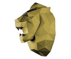 Trophée mural LION papier certifié FSC, doré - H49