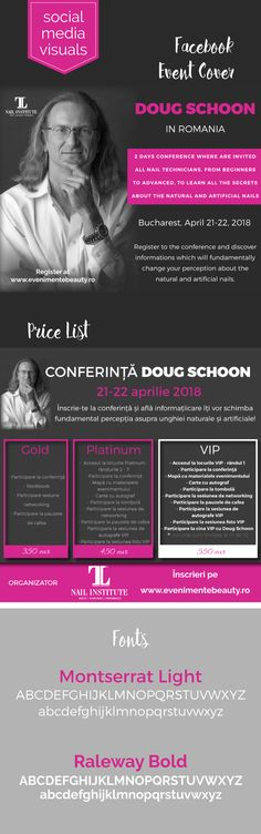 Facebook event cover and price list for Doug Schoon event in Romania