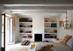 Eco-luxury Villa Adamo on Formentera Island Coastal Living Rooms, Living Spaces, Sweet Home, Built In Shelves, Recessed Shelves, Open Shelves, Built Ins, Shelving, Mediterranean Style