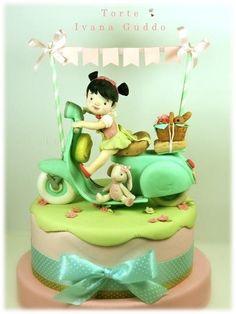 vespa vintage cake - Cake by ivana guddo Pretty Cakes, Cute Cakes, Beautiful Cakes, Amazing Cakes, Vespa Cake, Fondant Cakes, Cupcake Cakes, Vespa Vintage, Cake Works