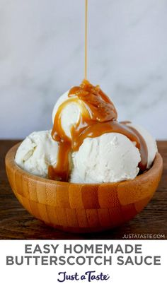 Frozen Desserts, Just Desserts, Delicious Desserts, Frozen Treats, Ice Cream Treats, Ice Cream Toppings, Dessert Sauces, Dessert Recipes, Butterscotch Sauce