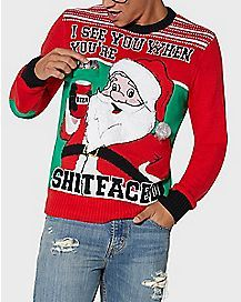 Shitfaced Santa With Drink Holder Ugly Christmas Sweater Fashion