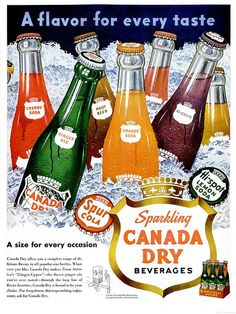 A vividly hued image for ice cold varieties of Canada Dry Soda from the 1950s. Boy, does the Cherry Soda sound terrific!