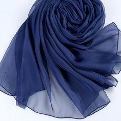 Fashion Silk Shawl Wrap Vintage Solid Scarf by HEE GRAND