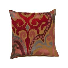 Showcasing a bold ikat-inspired damask motif, this cotton pillow offers a stylish contrast to your neutral sofa or bed. Product: PillowConstruction Material: Cotton cover and polyester fillColor: CaramelFeatures: Insert included Red Throw Pillows, Ikat Pillows, Throw Pillow Covers, Accent Pillows, Toss Pillows, Couch Pillows, Ikat Pattern, Cotton Pillow, Red Poppies