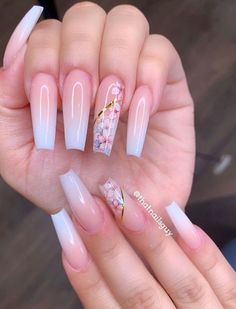 54 Awesome Acrylic Coffin Nails Design Ideas For Fall - Page 23 of 54 - Latest Fashion Trends For Woman - Coffin & Stiletto Nails Design - Summer Acrylic Nails, Cute Acrylic Nails, Aycrlic Nails, Swag Nails, Manicure, Toenails, Stiletto Nails, Nagellack Design, Cute Acrylic Nail Designs