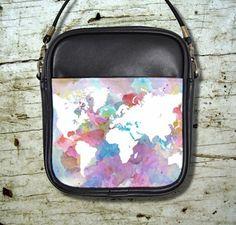 Small Sling Bag Purse Accessory Design 48 World Map Pink Blue Art L.Dumas