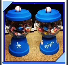 DIY LA dodgers Candy jar. Create the with your favorite sports team, character or pattern. Terra-cotta pot and base. Paints. Industrial glue. Dresser knobs or wooden dowels and your imagination.