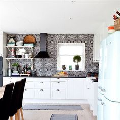 """Black and white moroccan tile"" range feature kitchen with black tile - Google Search"