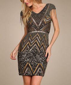 Look at this #zulilyfind! Black Embellished Chevron Sheath Dress #zulilyfinds