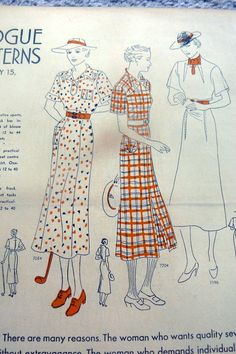 Vogue Patterns News, February 15, 1936 featuring Vogue 7054, 7204 and 7196