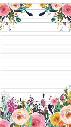 This would make a great notebook cover Printable Recipe Cards, Notebook Paper, Borders For Paper, Flower Backgrounds, Note Paper, Writing Paper, Planner Pages, Flowers Nature, Stationery Design