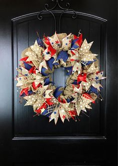 Fourth Of July Wreaths For Front Door, 4th Of July Wreath, Summer Wreath, Patriotic Wreath, Primitive Wreath, Burlap Wreath, Americana Decor