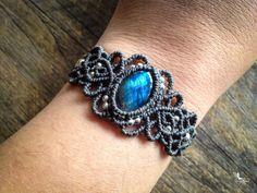 925 Boho Macrame bracelet labradorite with by MariposaMacrame