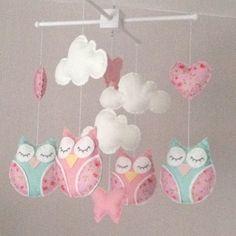 Baby mobile - Cot mobile  -  Owl Mobile - Cloud Mobile - Baby girl mobile…