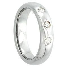Gabriella Gold 5mm Tungsten 900 Diamond Wedding Ring Domed 3 Stone 0.09 cttw Polished Finish Comfort fit, sizes 4 to 9.5