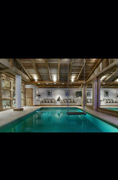 Indoor pool with a swing