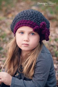 """My favourite hat so far for Iz for school this winter Slouchy Beret Crocheted """"The Ava"""" Flint Grey, Plum Photo Prop Hat. $26.00, via Etsy."""