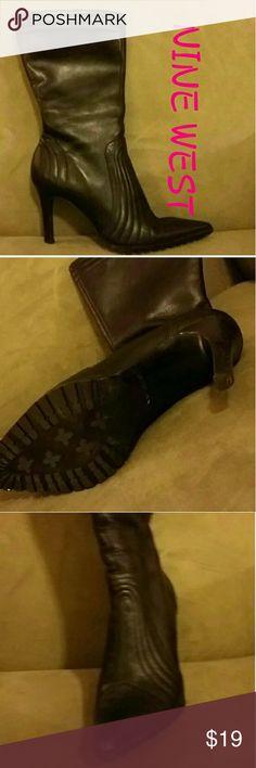NINE WEST BLACK HALF CALF  BOOT Great shape.  Black calf boot.  Inside zipper. Nine West Shoes Ankle Boots & Booties