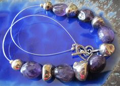 Handmade statement necklace purple amethyst & sterling silver nuggets with a heart toggle clasp by NikkiHillsDesign