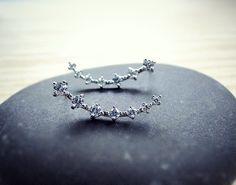 Long silver bow ear pins, silver earrings, crystals earrings, sterling silver studs, cubic zirconia earrings