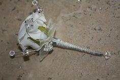 Articial rose and Swarovski crystal boutonierre (buttonhole). Perfect for the groom. https://www.facebook.com/createdbyceline?ref=hl