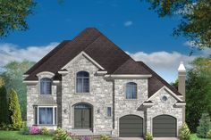 European Style House Plan - 4 Beds 2 Baths 3297 Sq/Ft Plan #25-4861 - Houseplans.com Vestibule, European House, European Style, Two Storey House, 2 Story Houses, Surface Habitable, Construction, European Fashion, Architecture