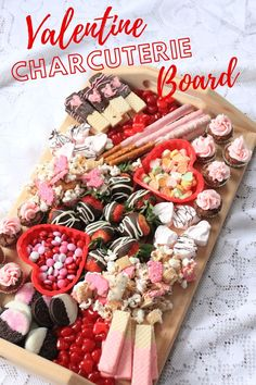 Looking for an easy tasty way to celeberate Valentine's Day? Check out this Valentine dessert charcuterie board. Simple to putput together, and so yummy. Valentine Desserts, Valentines Day Treats, My Funny Valentine, Holiday Treats, Holiday Recipes, Valentines Recipes, Charcuterie Recipes, Charcuterie And Cheese Board, Cheese Boards
