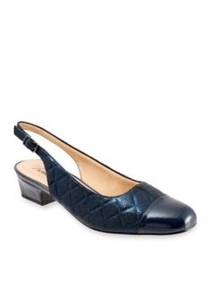 Trotters Navy Quilted Dea Slingback Pump