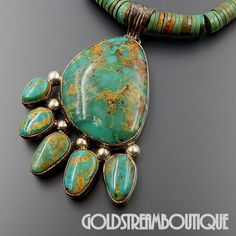 """NATIVE AMERICAN LOREN THOMAS BEGAY NAVAJO STERLING SILVER GREEN AMERICAN TURQUOISE NECKLACE 17"""""""