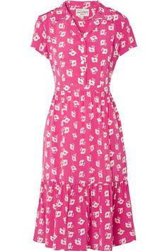 HVN | Charlotte floral-print silk crepe de chine midi dress | NET-A-PORTER.COM