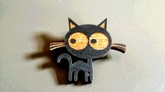 Clara Cat Wooden Badge (Black). Handmade jewellery, lasercut from upcycled wood. by BoughtoBeauty on Etsy