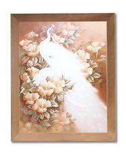 White Peacocks Bird In Flowers Floral #1 Wall Picture Honey Framed Art Print