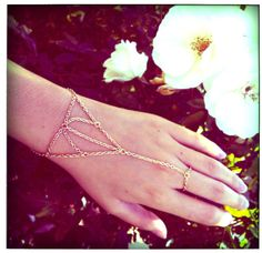 Gold Web Chain Bracelet Ring Connector Hand Harness by hungryeyes, $20.00