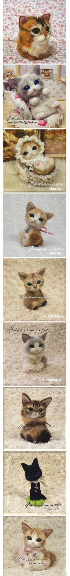 Needle-felted Kitties::Sweet.