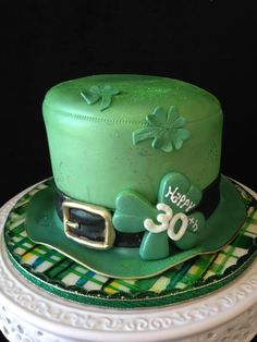 Birthday cake for a friend who's Big 3-0 was ON St. Patty's Day and he is Irish!  A fun surprise for him when he cut into the cake too!