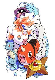 Shellder, Horsea, Staryu, Goldeen e sua evolução Seaking. Alguns Pokémons aquáticos da Indigo League.