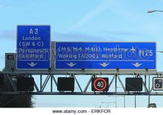 Download this stock image: A3 M3 M4 M40 A320 M25 motorway sign - ERKFCR from Alamy's library of millions of high resolution stock photos, Stock Photo, illustrations and vectors. Motorway Signs, Watford, Roads, A3, Signage, Vectors, Safety, Illustrations, Stock Photos