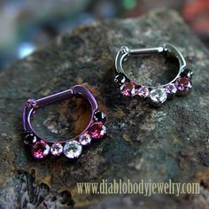 "Industrial Strength Titanium Odyssey Septum or Daith Prong-set Faceted Gem ""Helios"" Clicker. Gems: Black CZ, Red CZ, White CZ"