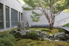Private Japanese style garden with good stone placement and moss