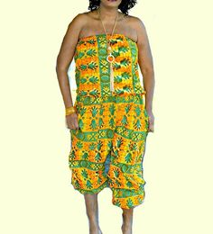 Orange African Dress Jumpsuit Womens Jumpsuit  by ZabbaDesigns