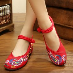 US Size 5-10 Embroidery Floral National Wind Chineseknot Buckle Vintage Flat Shoes