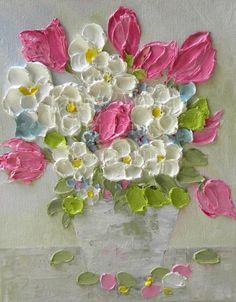 """ORIGINAL OIL Painting  """"Vintage Pink Tulips, Floral Impasto Painting,Home Decor,Mothers Day, Wedding"""