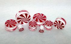 """New Acrylic Hand Painted """"Peppermint Logo"""" Double Flared Plugs ( 2 g To 1inch ) #HalftoneBodyworks"""