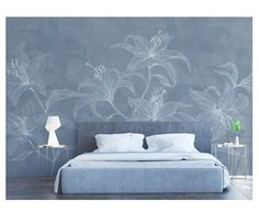 New painting walls flowers simple ideas Living Room Modern, Living Room Decor, Living Rooms, Modern Wall Paint, Brown And Blue Living Room, Lily Wallpaper, Flower Wall Decals, Cleaning Walls, Decoration Design